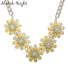 Match-Right Resin Chrysanthemum Statement Necklace Women Chain Necklaces & Pendants Summer Style Punk  Jewelry For Gift Party