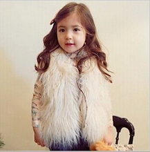 New Arrival Children's Solid Faux Fox Fur Waistcoats Girls Lolita Style White Black Woolen Thick Vest Kid's Fashion Outerwear