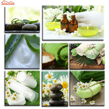 ShineHome-8pcs Wall Art Canvas Painting Prints Spa Body Nail Salon Massage Aloe Towel Flower Artwork Modular Picture Printing(China)