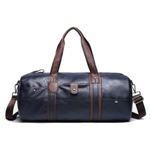 ETONWEAG 1x blue men leisure trave PU leather handbag / shoulder bag / luggage bag /  bag 50 * 21 * 22cm