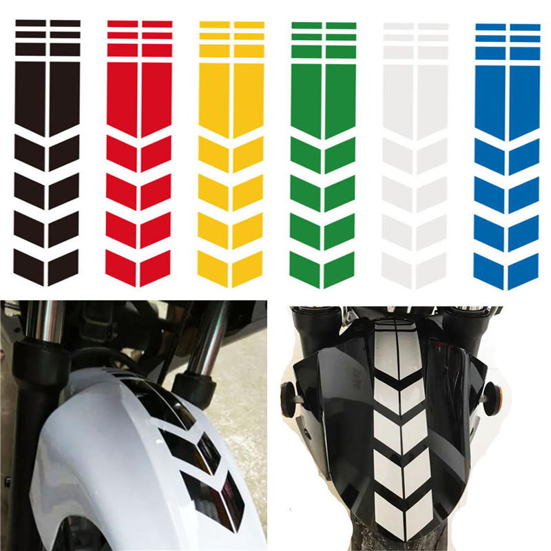 Car Motorcycle Reflective Arrow Decal Rim Stripe Wheel On Fender Stick Tape M6U9