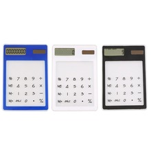 Mini Calculator Ultra Slim Solar Power Touch Screen LCD 8 Digit Credit Card Electronic Transparent Calculator Black White Blue