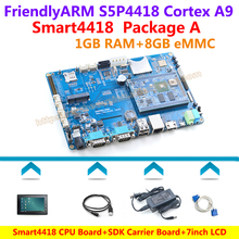 FriendlyARM Quad core Cortex A9 S5P4418 CPU Board+SDK Carrier Board+X710 LCD+Power+USB Cable+Serial Cable=Smart4418 Package A