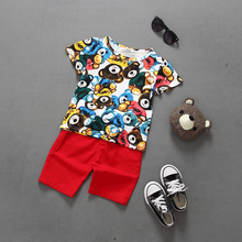 Hot Sale New Kids Boy Baby Clothes Lovely Bear Girls Clothes Short Shirts Tops Pants 2 PCS Set Outfits Children Clothing 2-7 Y