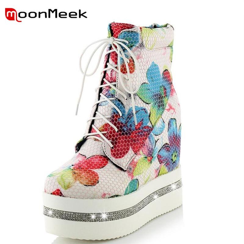 MoonMeek new arrive round toe wedges heel women boots platform crystal ankle boots fashion boots platform flower girls shoes<br>