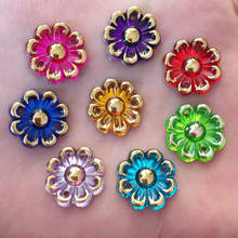 20PCS 16mm AB Acryls Flower Rhinestone Flatback Wedding Diy Button 2 Hole Crafts K29