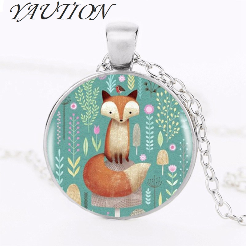 YAUTION Fox Flowers Pendant Choker Statement Silver Necklace Women Dress Accessories Glass Photo Pendants Jewelry
