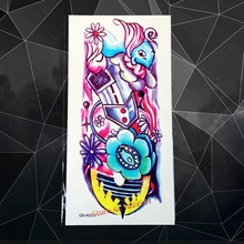 Colorful Body Art Painting Fake Tattoo Sleeve AQS-A027 Fashion Graffiti Design Flash Temporary Arm Tattoo Sticker For Men Women(China)