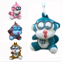 Bulk  9cm x 24pcs Cartoon Plush Cute  Glasses Monkey Pendants Soft Toys Mono Stuffed Dolls Key chain