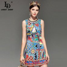 LD LINDA DELLA Fashion Designer Runway Summer Dress Women's Sleeveless Noble Diamonds Beading Vintage Straight Short Dress(China)