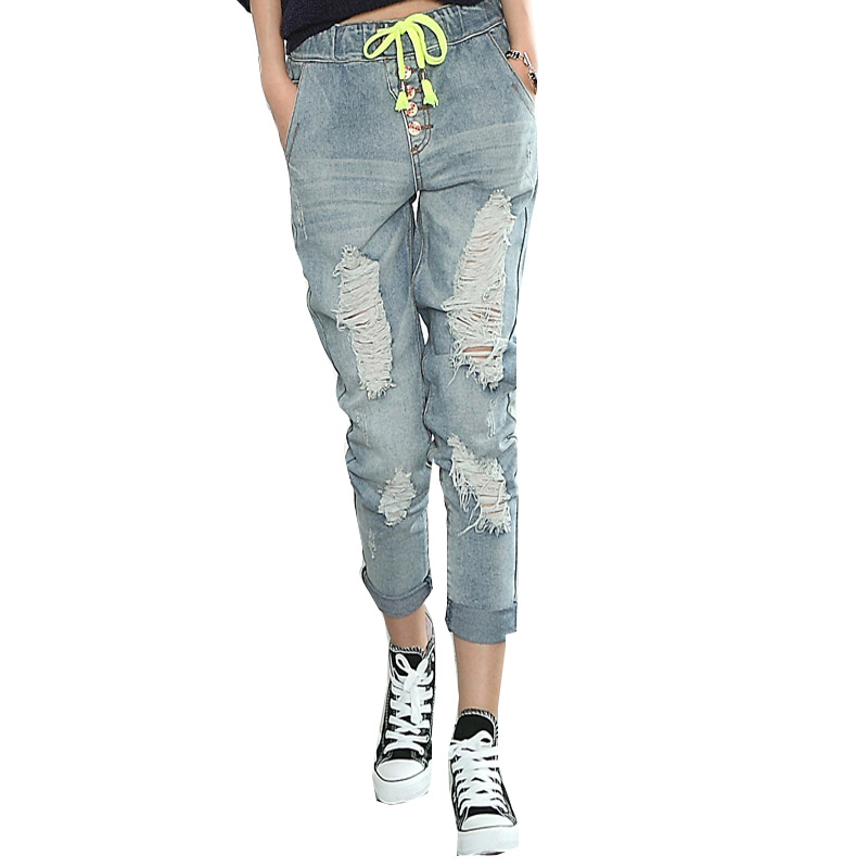 New Thin Loose Women Jeans Slacks Hole Ripped Fashion Mid Waist Famale Washed Lady Trousers XS-XL Dropshipping AD9682Одежда и ак�е��уары<br><br><br>Aliexpress