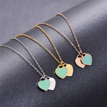 Martick Romantic Europe Style Heart Pendant Necklace Green Pink Color Double Heart Link Chain Necklace For Woman Jewelry P2(China)
