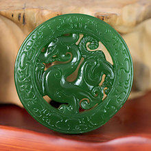 KYSZDL Natural Hetian Green yu stone hollow dragon Hand carving Imitation Cologne Pendant Fashion Men yu stone Jewelry+Free Rope(China)