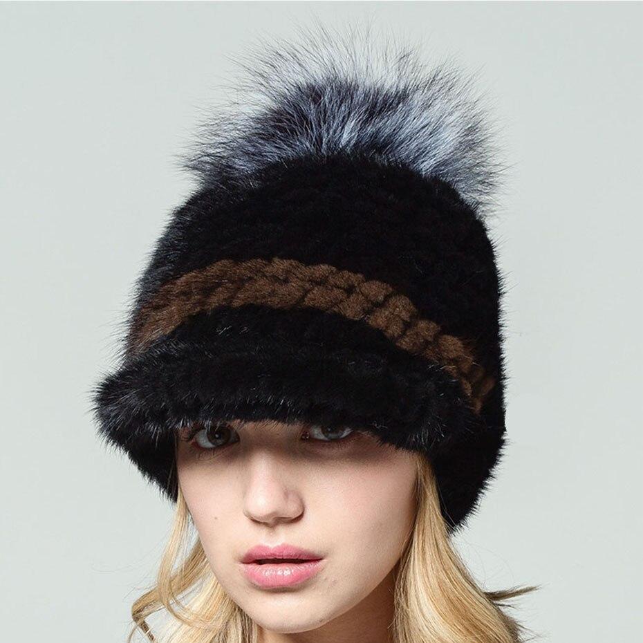 QIUSIDUN 2017 mink hair knitted hat fashion fur pompom beanies knitted casquette womens winter hats russian fur cap cap wome   Îäåæäà è àêñåññóàðû<br><br>