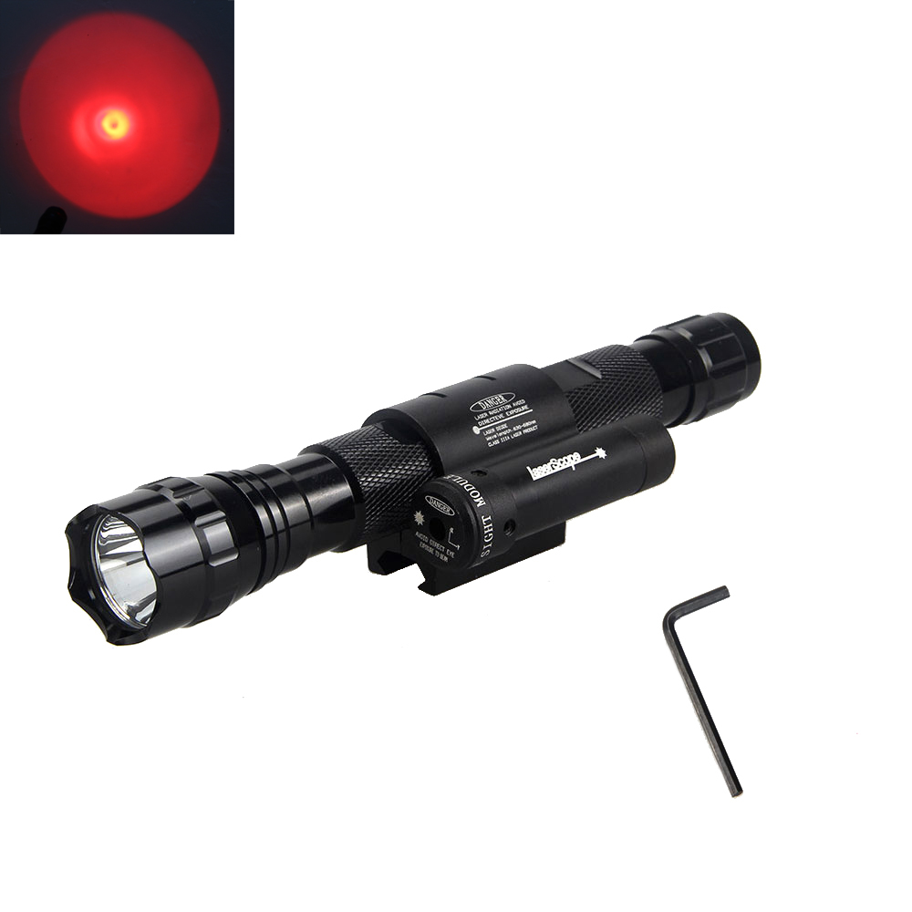 Tactical 4000LM Red LED Flashlight Torch Light+Red Laser Dot Sight+18650 Battery<br>