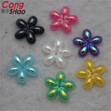 Cong Shao 300PCS 14mm flower shape AB Color Acrylic Rhinestone Stone crystals Flatback for costume Button Diy Decoration CS448(China)
