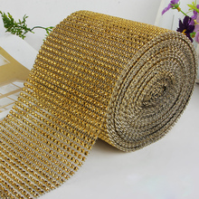 Width 24 rows Gold Deco Mesh Trim Wedding Decoration Bling Diamond Mesh Wrap Cake Roll 1 yards Sparkle Party Rhinestone  Ribbon