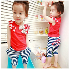 SL-80, summer children girls clothing sets, short sleeve T shirt + middle pant, lace bow.