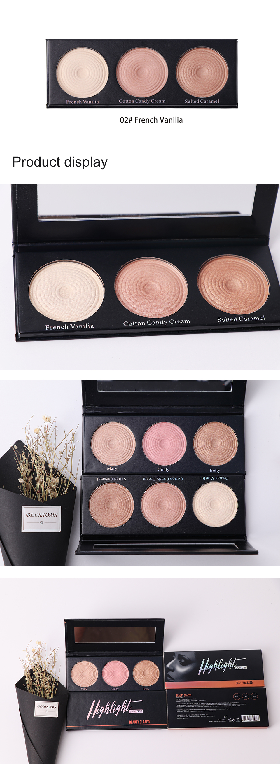 BEAUTY GLAZED Brand Highlight Pressed Illuminating Powder Easy To Wear Concealer Powder Natural Compact Powder 3 Colors In 1 2