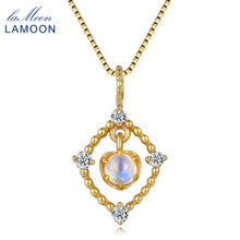 LAMOON 14K Yellow Gold Plated Natural Light Blue Moonstone 925 Sterling Silver Pendant Necklace For Women Fine Jewelry LMNI036
