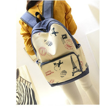 Korean style  Paris Eiffel Tower printing shopping student 's big blue backpack bag