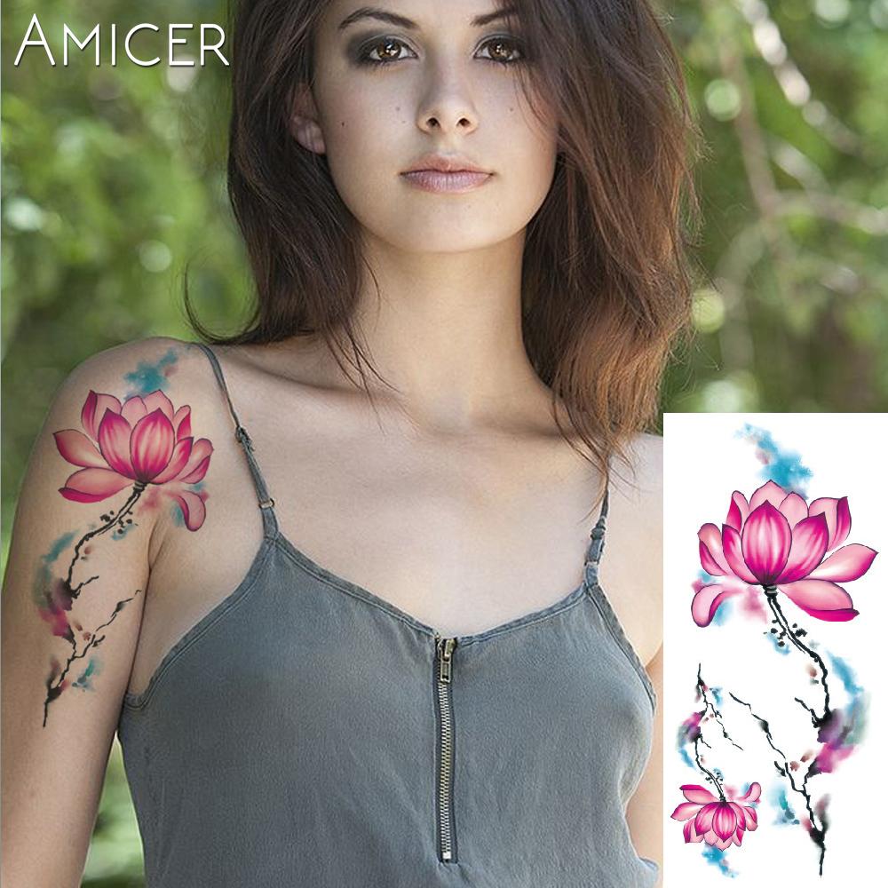 3D lifelike Cherry blossoms rose big flowers Waterproof Temporary tattoos women flash tattoo arm shoulder tattoo stickers 9