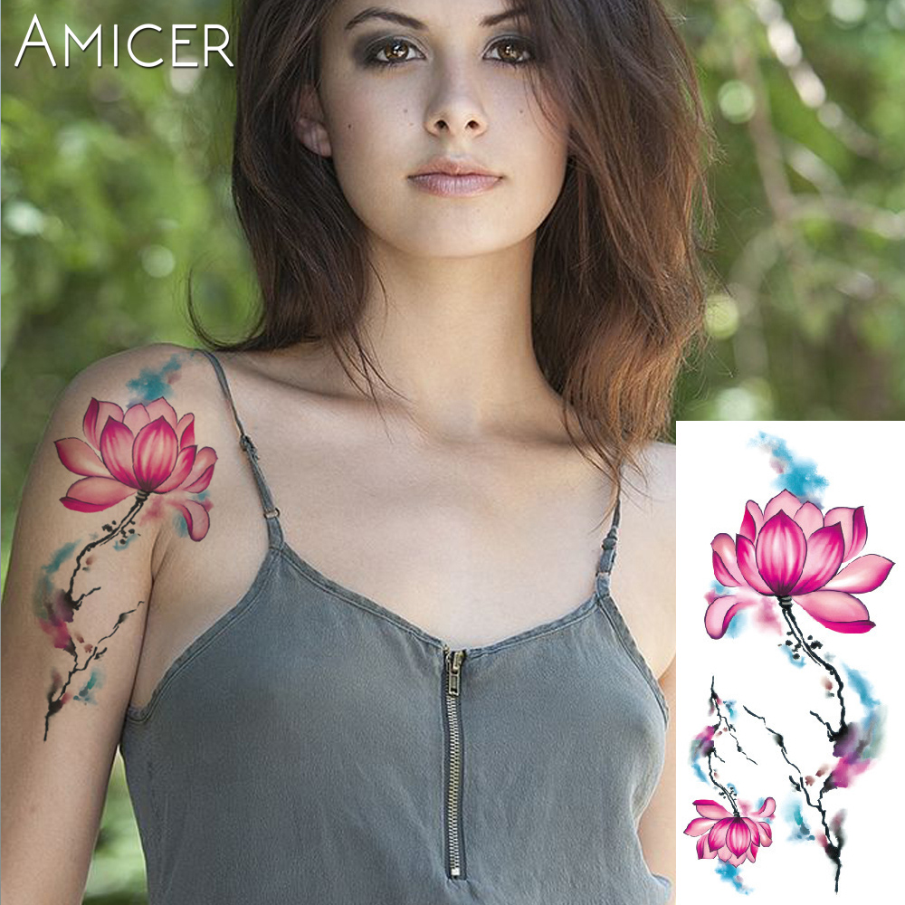 3D lifelike Cherry blossoms rose big flowers Waterproof Temporary tattoos women flash tattoo arm shoulder tattoo stickers 9