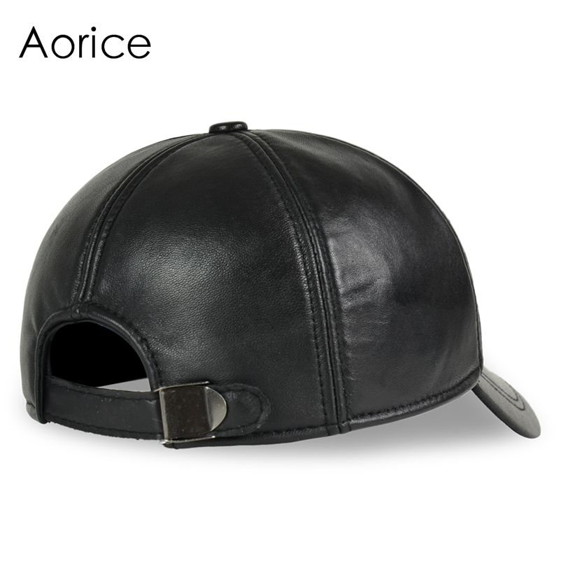 Deluxe Leather Adjustable Black Baseball Cap - Rear Angle View
