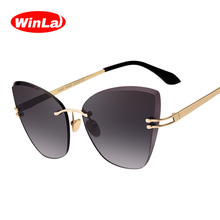 Winla Fashion Design Women's Cat Eye Sun Glasses Vintage Goggles For Female Elegant Style Gafas Sunglasses Eyewear WL1080(China)