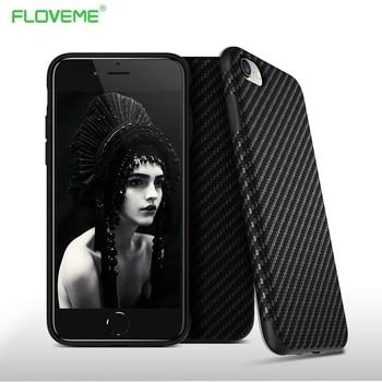 Floveme nuevo medio ambiente carbon fiber case para iphone 6 6 s más suave antideslizante antidetonantes cubierta para iphone 7/plus cuero