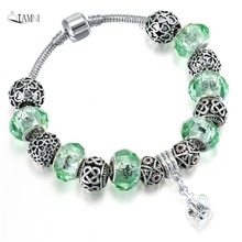 QIAMNI Accessories DIY Jewelry Green Murano Glass Beads Crown Pendant Dangle Bracelets Bangles Fit Women Girl Snake Chain Gift