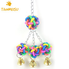 Birds Toys Hand Grabbing Ball With Bells Hanging Toy Plastic Ball Parrot Bite Cage Pendant Decor Toys Random Color(China)