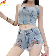 Buy 2 Piece Set Women 2018 Sexy Two Piece Set Summer Denim Crop Top Shorts Set Backless Lace Fitness Clothing Street Clothes for $23.99 in AliExpress store