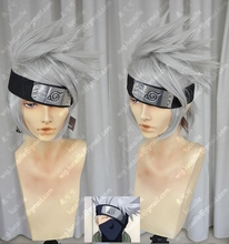 Anime Naruto Hatake Kakashi Short Silver Gray Shaggy Layered Synthetic Hair Wig Heat Resistant Cosplay Wigs (need styled)