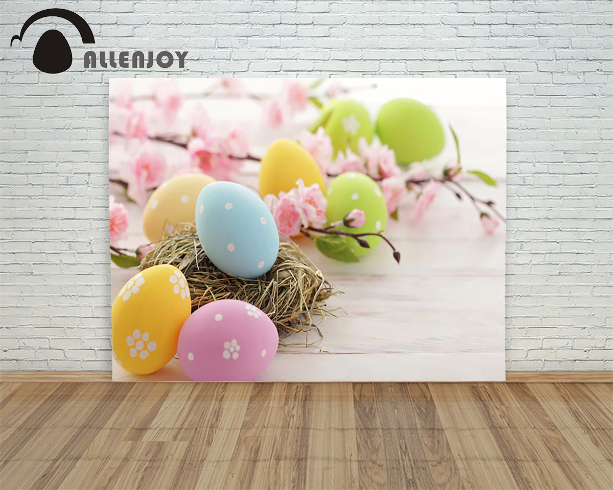 Allenjoy backdrops Easter eggs Indoor pink flower bird nest wood children Photophone for a photo shoot Photo background<br><br>Aliexpress