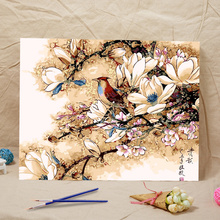 from the digital unique Home Decor new gifts Frameless diy oil painting Magnolia flower bird acrylic paint wall painting tower