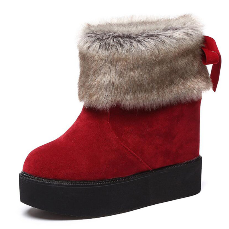 2017 sweet bowtie winter boots women high increasing wedges botas antiskid outdoor shoes woman warm fur snow boots free shipping<br><br>Aliexpress