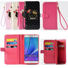 For Samsung Galaxy S7 S7 edge Luxury mirror hello Kitty wallet PU leather flip stent many card slot case For Samsung Note4 Note5
