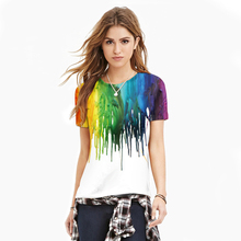 New Products Casual Brush Graffiti Tops Digital Printing T-shirt Fashion Round Neck Short Sleeve Bottom shirt female