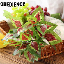 OBEDIENCE 10Pcs Brick Artificial Plants Red heart leaves Plastic Simulation Plants Home Decoration Flower 7 Fork Spring Grass