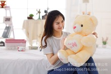Miss you heart light yellow teddy bear plush toy soft doll pillow , Valentine's Day, birthday gift w5452(China)