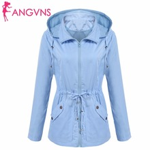 ANGVNS Women Basic Jackets Autumn Waterproof Detachable Hooded Long Sleeve Casual Drawstring Lightweight Jacket Outwear Coat(China)