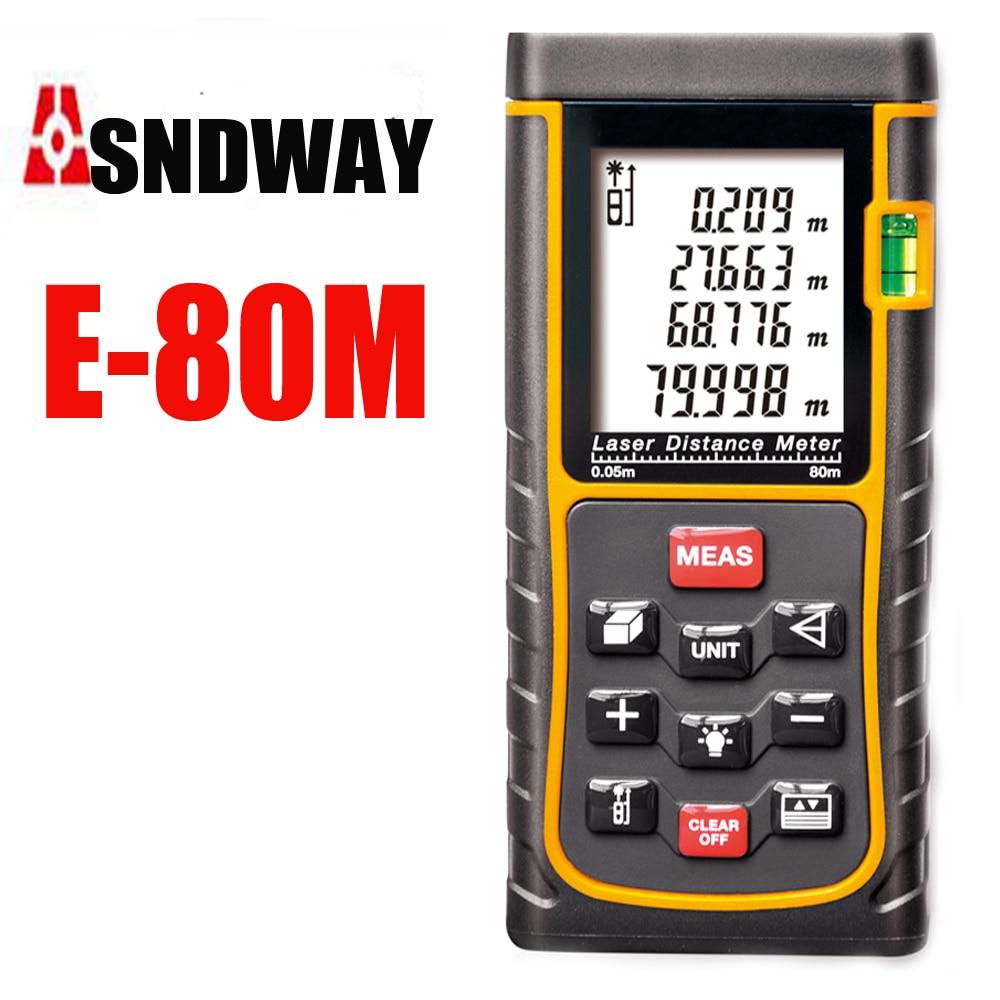 80m Digital Laser distance meter Rangefinder Tape measure Disitance/Area/volume M/Ft/in Range finder Ruler Roulette<br>