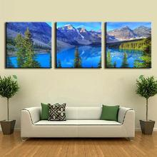 3 Pcs/set Landscape Painting Prints On Canvas Modern Alps Mountains and Blue Lakes Wall Picture for Home Decor