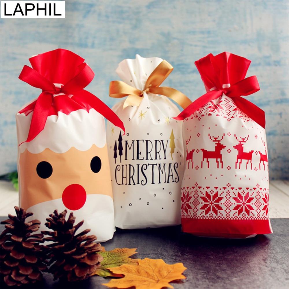 10pcs Christmas Drawstring Bags Candy Gift Bag Santa Claus Deer Packing Decor