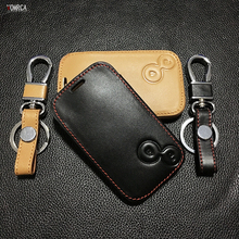 Fashion men Super quality car key chain key chain cover for Renault 2 buttons 100% leather key bag dust collector auto part(China)