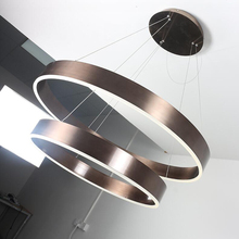 New product test marketing! Brown aluminum pendant lamp, picture real shot, led circular pendant lamp, 2 laps sales