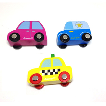 x023 New arrival hot children wooden educational toys Bus Taxi blue pink cars high quality wooden cars 3pcs/lot