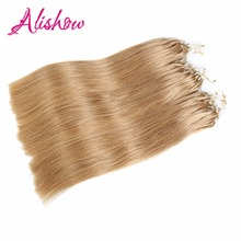 Alishow Machine Made Micro Ring Remy Human Hair Extensions 100g 1g/strand 22Inch Silky Straight Loop Human Hair #27 Gold Blonde(China)