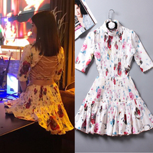 High quality waist bandage luxury sexy handmade beads flower print dress 2018 early spring new runway fashion elegant ladies(China)